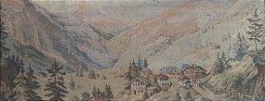 Quadro antigo Gobelein Gobelin Vilarejo 167x63