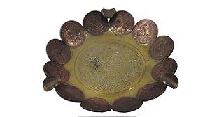 Cinzeiro De Bronze Em Forma De Moeda Centavo EUM Mexicano