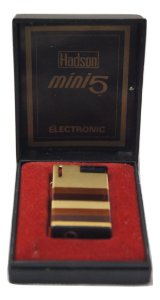 Isqueiro Hadson Mini 5 Dourado Preto Com Caixa