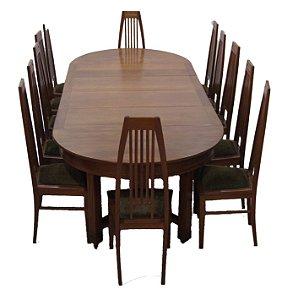 Conjunto Sala de Jantar Mesa 12 Cadeiras Art Nouveau