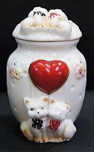 Pote Branco Porcelana Tampa Casal Gato 12x8cm