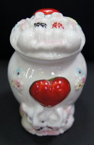Pote Branco Porcelana Tampa Casal Elefante 12x8cm