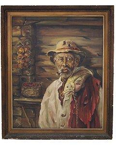 Quadro Pintura A Óleo Pescador Preto Velho - Alice 80x65cm