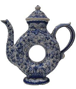 Chaleira de Porcelana Detalhes Azuis
