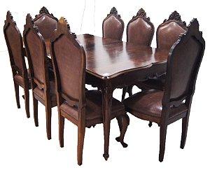 Conjunto Sala de Jantar com 8 Cadeiras Luis Xv Imbuia Couro