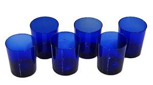 Jogo de Copos Azul De Cristal 6 Peças