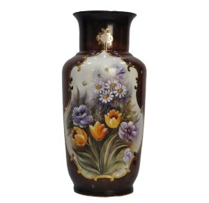 Vaso de Porcelana Pintado à Mão Grande Marron