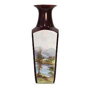 Vaso de Porcelana Bordô Pintura Feita a Mão Mary 1980