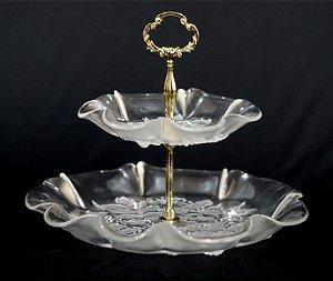 Fruteira Bailarina em Cristal e Bronze