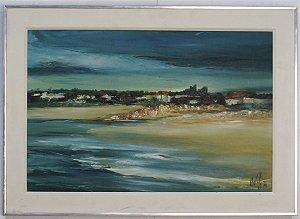 Quadro Pintura a Óleo Praia Por - Átila 1978 40x59cm