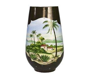 Vaso de Porcelana Pintado a Mão Sul Americana