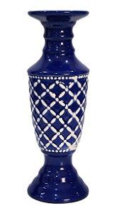 Vaso Porta Velas Porcelana Azul