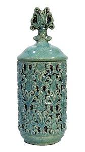 Pote Decorativo Porcelana Verde Tampa
