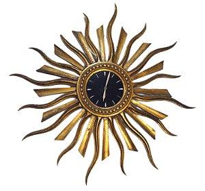 Relógio De Parede Sol Em Madeira Com Folha De Ouro
