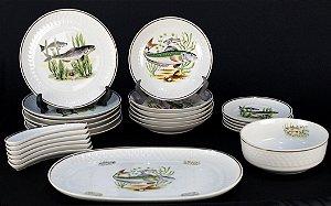 Aparelho de jantar em Porcelana Real Peixes Déc. 70