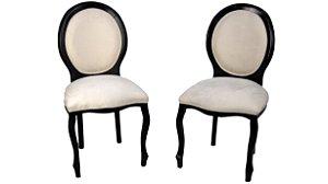 Par de Cadeira Medalhão Luis Xv Preta Estofado Branco