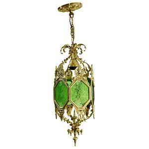 Lustre Em Bronze Com Vitral Verde