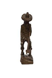 Escultura Lenhador Entalhado na Madeira de Imbuia