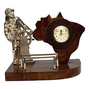 Relógio De Mesa Marinheiro em Madeira Maciça