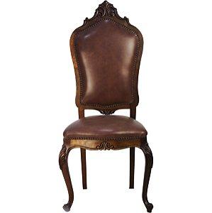 Conjunto 08 Cadeiras Luis Xv Imbuia Couro