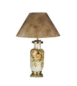 Luminária de Mesa Abajur Em Bronze E Porcelana Pintado À Mão