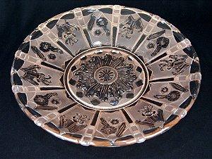 Prato De Vidro Rosa Imperial Jateado Art Deco 37cm