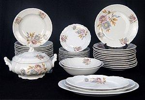 Aparelho De Jantar 42 Peças Em Porcelana Década. 70 Floral