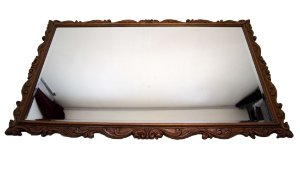Espelho Bisotê Estilo Colonial Em Madeira De Cerejeira