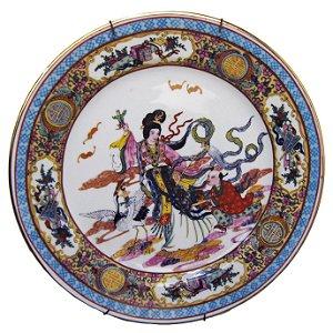 Prato Decorativo Porcelana Chinesa Gueixa Pintada À Mão