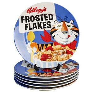 Jogo 06 Pratos de Sobremesa Kellogg's Vintage Frosted Flakes