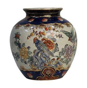 Vaso Em Porcelana Satsuma Pintada À Mão