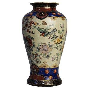 Vaso Em Porcelana Satsuma Filete de Ouro