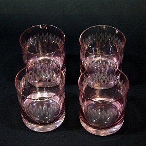 Jogo 4 Copos Para Whiskey Cristal Rosa Hering