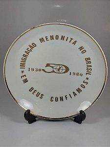 Prato em Porcelana Polovi Comemoração 50 Anos Menonita