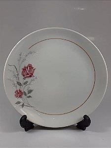 Prato de Sobremesa em Porcelana Polovi Decorado Em Rosas