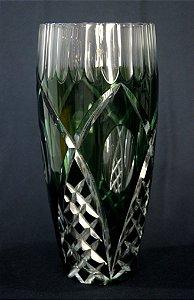 Vaso Em Cristal Verde Lapidado a Mão