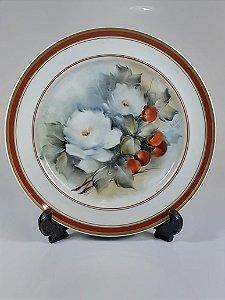 Prato de Sobremesa em Porcelana Polovi Pintado a Mão