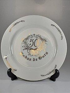 Prato em Porcelana Germer 50 Anos Bodas de Ouro