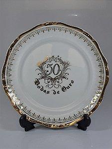Prato de Sobremesa em Porcelana Germer Bodas de Ouro