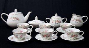 Jogo De Chá Em Porcelana Mauá Motivo Flores