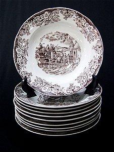 Jogo De 10 Prato Fundo Porcelana Real Motivos Izabel