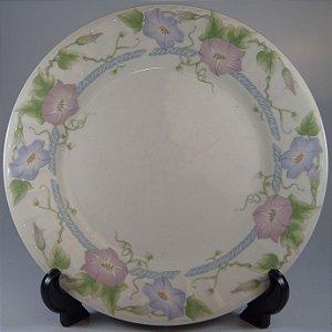 Prato para Bolo em Porcelana Gibson Decorado em Flores