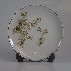 Prato de Sobremesa em Porcelana Schmidt Decorado em Flores