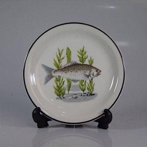 Prato de Sobremesa em Porcelana Real Decorado com Peixes