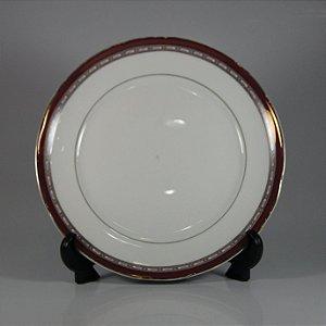 Prato em Porcelana Schimidt Decorado Vermelho