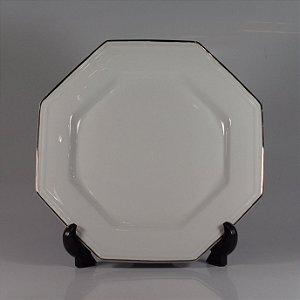 Prato em Porcelana Schmidt Decorado Branco