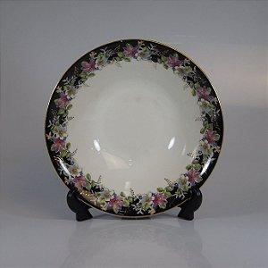 Saladeira em Porcelana Steatita Floral Preta