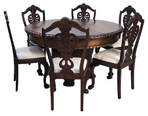 Conjunto Sala de Jantar Mesa 6 Cadeiras Patas de Leão