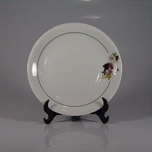 Prato de Sobremesa em Porcelana Renner Decorado em Flores