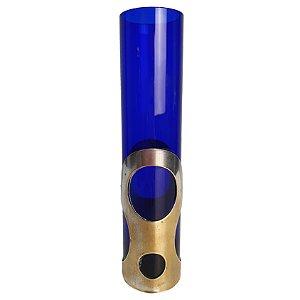 Vaso Solitário em Metal e Cristal Azul Cobalto